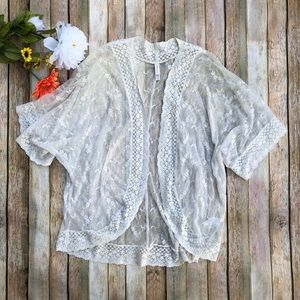 Xhilaration white cream lace open cardigan